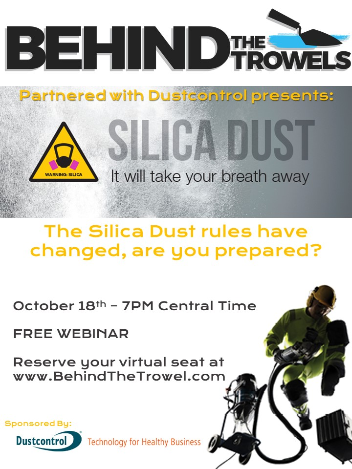 Silica Dust Webinar - October 18th - 7PM Central Time